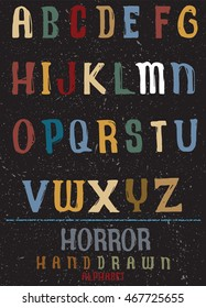 Vector alphabet. Hand drawn letters. Letters of the alphabet written with a pen