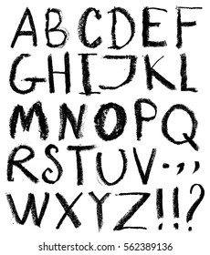 Vector alphabet. Hand drawn letters. Letters of the alphabet written with a black crayon.