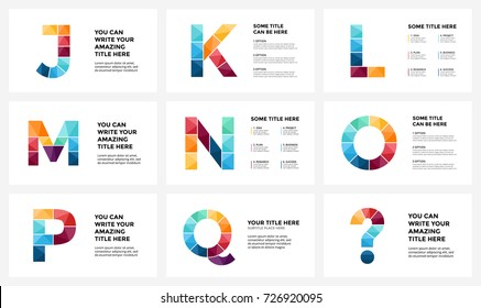 Vector alphabet infographic, presentation slide template. Business infographics concept with letters J, K, L, M, N, O, P, Q, question info graphic sign and place for your text. 16x9 aspect ratio.