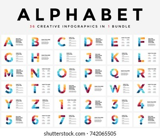 Vector alphabet infographic, presentation slide template. Business typographic concept with all numbers and letters. 16x9 aspect ratio. 36 infographics in 1 infographics bundle. Latin type.