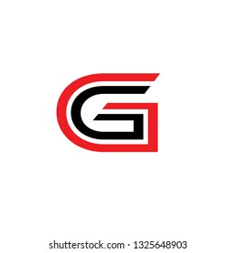 Vector alphabet initial letter G GG Black Red isolated on white background. Double font - Vector
