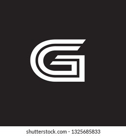Vector alphabet initial letter G GG Black White isolated on black background. Double font - Vector