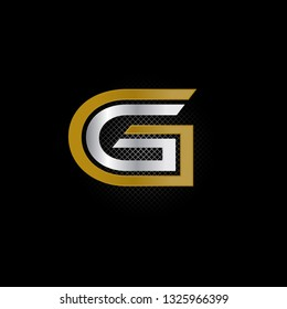 Vector alphabet initial letter G GG Gold Silver isolated on black background. Double font - Vector