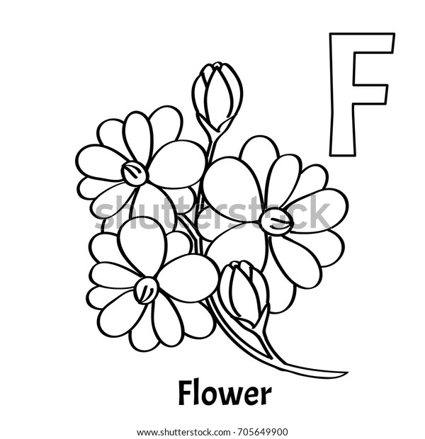 Vector Alphabet Letter F Coloring Page Stock Vector (Royalty Free) 705649900