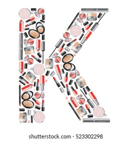 "Vector alphabet letter ""K""  with different cosmetics"