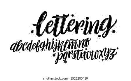 Vector Alphabet. Lettering and Custom Typography for Designs: Logo, for Poster, Invitation, etc. Handwritten brush style modern cursive font isolated on white background.