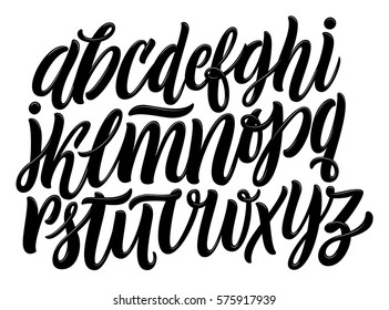 Vector Alphabet. Lettering and Custom Typography for Designs: Logo, for Poster, Invitation, etc. Handwritten brush style modern cursive font isolated on white background.