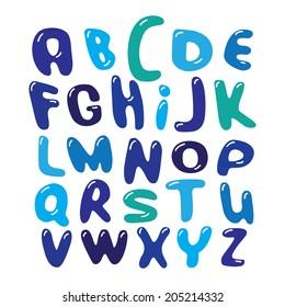 Vektor Alphabet Buchstaben blauen Blasen Set Illustration