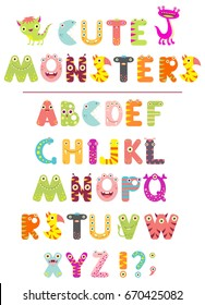 Vector alphabet with letters in the form of cute cartoon monsters. EPS8