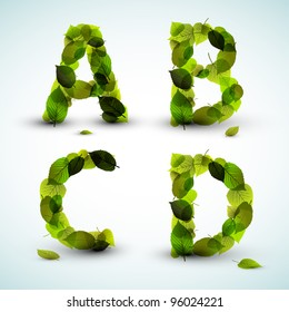 Vector alphabet letters made from fresh green leafs