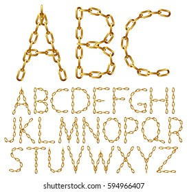 Vector alphabet letters made from golden chain, isolated on white