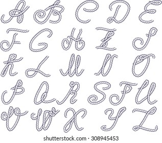 Vector alphabet. Alphabet letters made from marine rope. Vector hand drawn calligraphic alphabet.