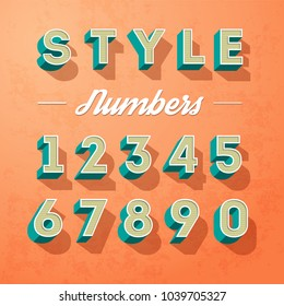 Vector alphabet letters and numbers retro colour style, letters designe
