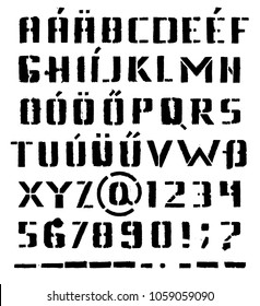 Vector alphabet. Letters and numbers. Stencil. Hand drawn letters. Black grunge font. German alphabet, Hungarian alphabet.