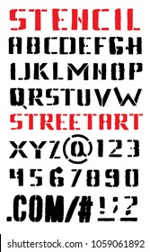 Vector alphabet. Letters and numbers. Stencil. Hand drawn letters. Black grunge font.