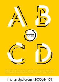 Vector alphabet with minimal design on yellow background. Modern typographic set with abstract design.