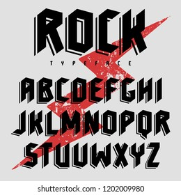 Vector alphabet for music poster design, t shirt graphics and other using. Gothic style font with shadow effect. Plus grunge texture as a bonus