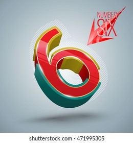 Vector Alphabet Number Six 3D style with red arrow. Vector illustration