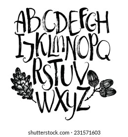 Vector alphabet with oak leaf and acorns