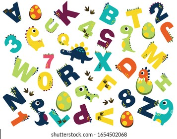 vector alphabet pattern with dinosaurs on a white background