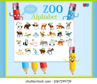 Vector alphabet poster with funny pencils