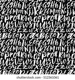 Vector Alphabet Seamless Pattern. Brush Letters. Handwritten Script Alphabet. Hand Lettering and Custom Typography for  Designs: Wallpaper Backgrounds, for Posters, Cards, etc. Vector Illustrations.