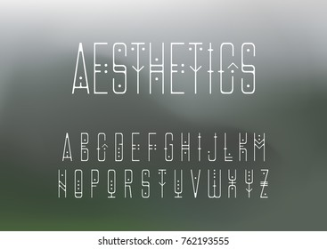 Vector alphabet set. Capital display thin line font in geometric style with points on a blurry background. Hipster theme.