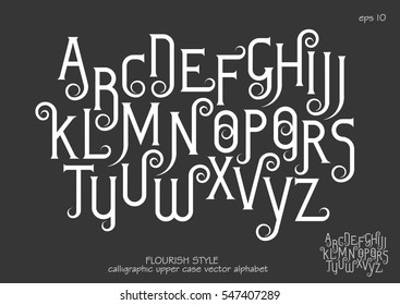 Vector alphabet set. Capital letters with decorative flourishes in the Art Nouveau style. White letters on black background.
