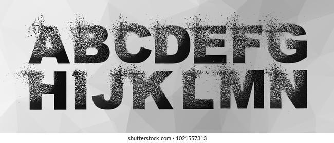 Vector alphabet set, letters with effect of destruction
