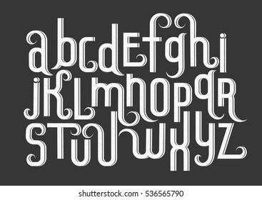 Vector alphabet set. Lowercase 3d letters with decorative flourishes and fine texture in the Art Nouveau style. White letters on black background.