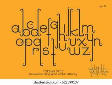 Vector alphabet set. Lowercase letters with decorative flourishes in the Art Nouveau forging style. Black letters on a yellow background.