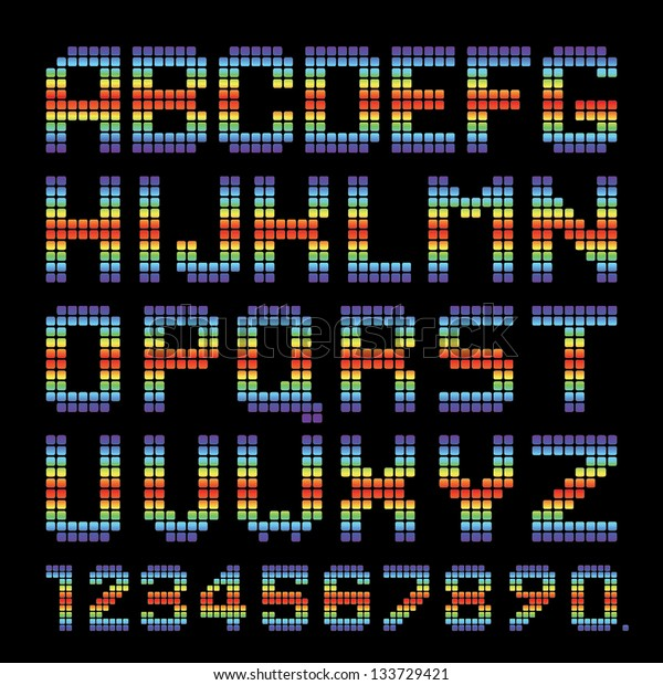 Vector Alphabet Set. Rainbow rounded squares. EPS10