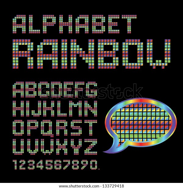 Vector Alphabet Set. Rainbow triangles. EPS10