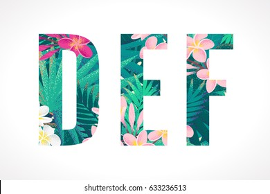 Vector alphabet set. Retro tropical letters D, E, F. Pink and white frangipani (plumeria) flowers with palm leaves