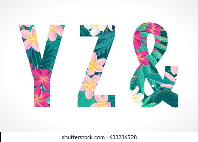 Vector alphabet set. Retro tropical letters Y, Z, ampersand. Pink and white frangipani (plumeria) flowers with palm leaves