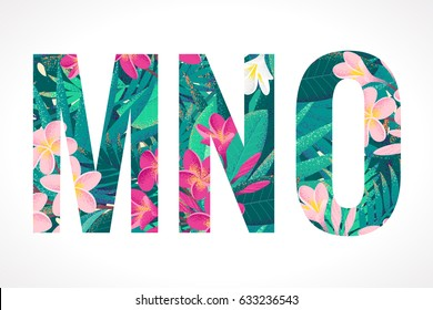 Vector alphabet set. Retro tropical letters M, N, O. Pink and white frangipani (plumeria) flowers with palm leaves