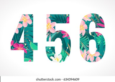 Vector alphabet set. Retro tropical numbers 4, 5, 6. Pink and white frangipani (plumeria) flowers with palm leaves
