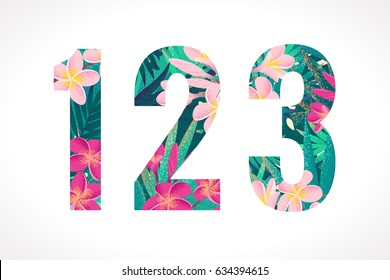 Vector alphabet set. Retro tropical numbers 1, 2, 3. Pink and white frangipani (plumeria) flowers with palm leaves