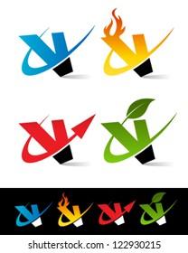 Vector alphabet set of various swoosh V logo icons