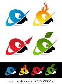 Vector alphabet set of various swoosh Q logo icons