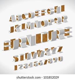 Vector Alphabet Shaped Furnitures