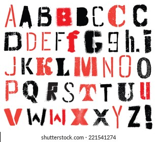 Vector alphabet. Stencil. Hand drawn letters.