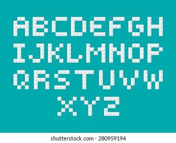 Vector alphabet stylized like plastic constructor.