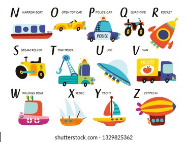 Vector alphabet with transport in cartoon style. Part 2.