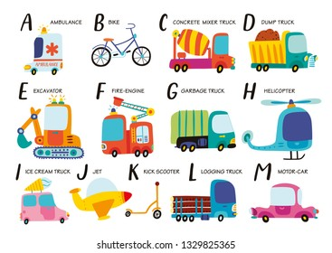 Vector alphabet with transport in cartoon style. Part 1.