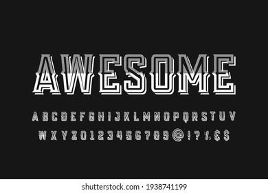 vector alphabet, typeface design, black  style background, vintage font