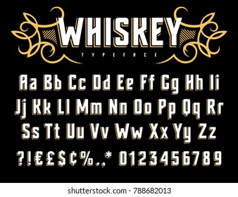 Vector alphabet in vintage style. Old whiskey label font. Uppercase, lowercase letters and numbers