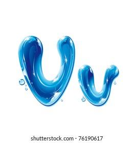vector alphabet, water letter V