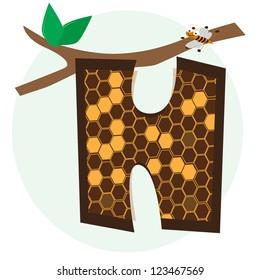 vector alphabetical of honeycomb H