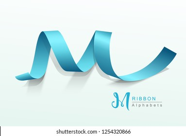 Vector Alphabets blue ribbon design, illustration
